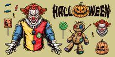 Colorful Halloween vector design illustrations. Joker, Pumpkins, Voodoo Girl vectors.