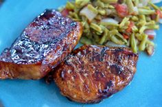 Maple Glazed Pork Chops - used cherry balsamic vinegar instead and topped with cherry ancho jelly