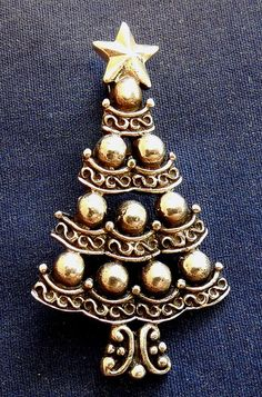 Designer Cast Sterling Silver Lady's Vintage Christmas Tree Pin