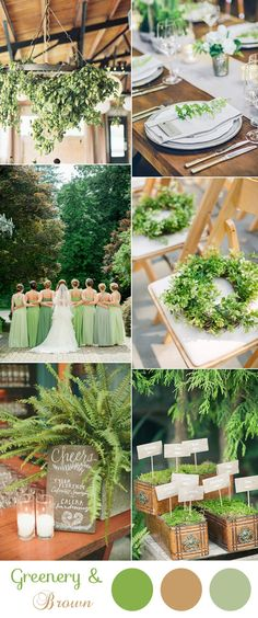 Love the different shades of greens in dresses.organic greenery woodland wedding ideas