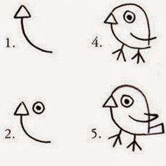 desenhos faceis de fazer - passarinho 2