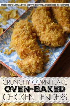 Crunchy Corn Flake Oven-Baked Chicken Tenders Crunchy Corn Flake Oven-Baked Chicken Tenders – Baking chicken on a busy weeknight doesn't get any easier than with these crunchy corn flake-coated chicken tenders. Assembly alone will. Oven Fried Chicken Tenders, Baked Chicken Strips, Chicken Strip Recipes, Crispy Oven Baked Chicken, Chicken Tender Recipes, Oven Chicken, Corn Flake Chicken, Cornflake Chicken Baked, Chicken Wings