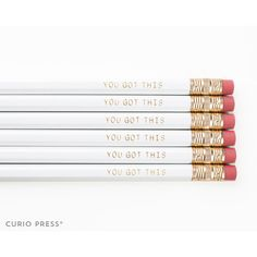 You Got This White and Gold Printed Pencil Set Cute Pencil Set... ($3) ❤ liked on Polyvore featuring home, home decor, office accessories, home & living, office, office & school supplies, pink, pink erasers, pink pencils and inspirational quote mugs
