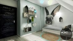 Dormitorio infantil con un gran mural
