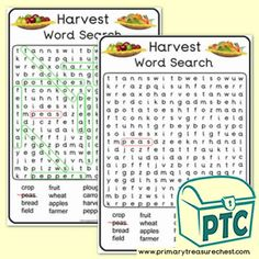 Harvest A4 Word Search Worksheet - Primary Treasure Chest Ourselves Topic, Role Play, Treasure Chest, Word Search, A4, Teaching Ideas, Worksheets, Harvest, Classroom