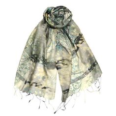 Ezmirelda. Watery paisley print on a hand-woven silk scarf is dynamic and sophisticated with hand-knotted fringe.