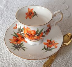 Pretty china tea cup and saucer made by Elizabethan China co. in England. This duo is from the Provincial Flowers Series and is in the Prairie Lilly pattern. It is in good condition, no chips, cracks or crazing. Please Note: The items I sell are not new, they are vintage or
