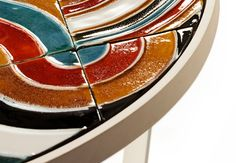 Caldas Round -  coffee table detail - ø 60 cm, h: 55 cm tiles multicolor circles and white lacquer iron  | Mambo