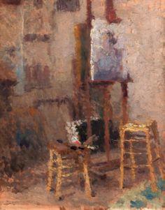 Inside the studio with easel, 1912, Ugo Malvano. Italian (1878 - 1952)
