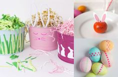 Create custom Easter baskets by painting over old bins and buckets ... why didnt I think of that!