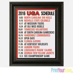 2016 UGA- University of Georgia Football Season Game Schedule Wall Art - Solid…