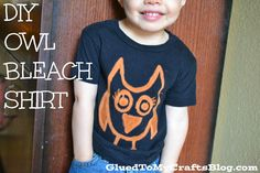 DIY Owl Bleach Shirt {Tutorial} Pinned by www.myowlbarn.com