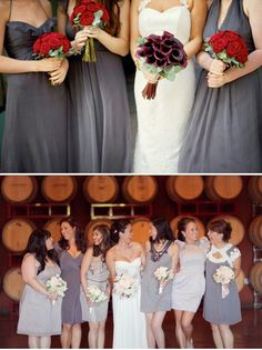 GRAY WITH BERRY - Love the mismatched bridesmaids dresses
