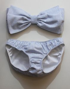 Seersucker bow bandeau set  Made to order by amourouse on Etsy, $90.00