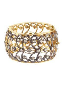 Filigree Rose Cut Diamond Bangle - 10.00 ctw