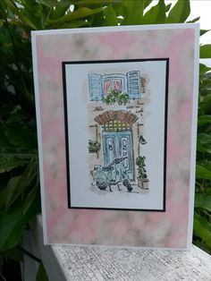 Stampin' Up Mediterranean Moments, water coloured and mounted on Falling In Love DSP
