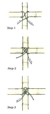 knot directions for your bamboo trellis.because I may need to properly tie bamboo together.Japanese knot directions for your bamboo trellis.because I may need to properly tie bamboo together.