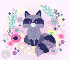 cute raccoon with flowers via katuno.com