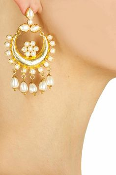 Gold plated pearl chandbali earrings available only at Pernia's Pop-Up Shop.