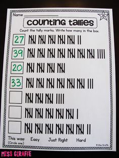 Counting tally marks practice worksheets and activities - lots of great ideas for teaching graphing