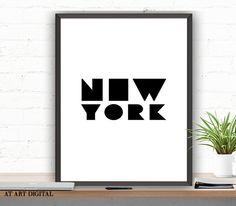 Printable Art, Printable Wall Decor, Art Print Digital, Black and White Instant Download, New York City Wall Art