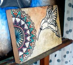 Hummingbird Mandala Painting by cactusSoup on Etsy, $35.00
