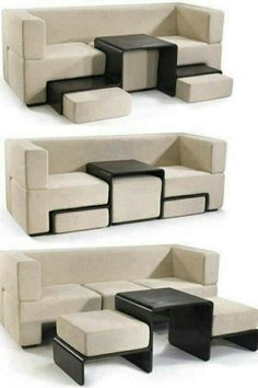 This is a really cool space-saving couch/foot rest/coffee table.