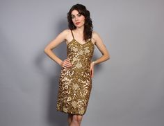 vintage 80s Gold SILK SEQUIN beaded Cocktail Mini DRESS #glam #partydress