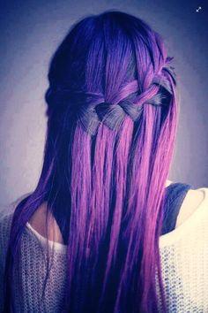 purple black long hair plaited plait