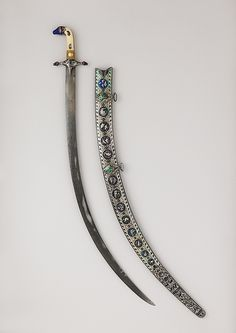 Sword (Shamshir) with Scabbard, early 19th century. Indian. The Metropolitan Museum of Art, New York. Bequest of George C. Stone, 1935 (36.25.1302a, b) #sword