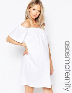 Image 1 ofASOS Maternity Off Shoulder Mini Dress