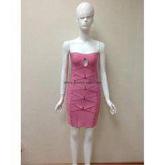 Herve Leger Pink Keyhole Bandage Dress H341LP