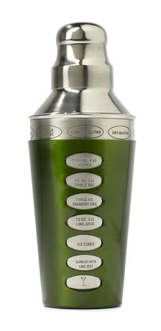 How fun is this cocktail shaker?! Drink recipes on it, just dial it over to the drink you want to make.