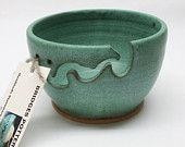 Bridges Pottery Yarn Bowl Knitting Bowl Weathered Green Showcased by Vogue KNitting IN STOCK