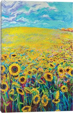 Sunflower Triptych Panel I by Iris Scott Canvas Art Print