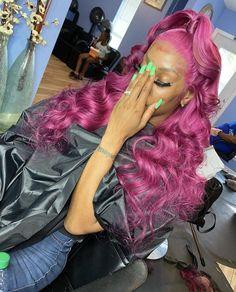 Black Girl Pink Hair, Dark Pink Hair, Burgundy Hair, Wig Styles, Curly Hair Styles, Colored Weave Hairstyles, Colored Wigs, Pink Wig, Lavender Hair