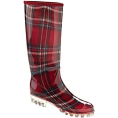 Henry Ferrera London Rain Boots (€27) ❤ liked on Polyvore featuring shoes, boots, knee-high boots, pvc boots, short heel boots, knee high rain boots, low heel knee high boots and knee high boots