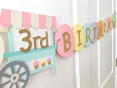 "Pastel Cupcake Themed ""HAPPY BIRTHDAY"" Banner: Pink/mint/Gold Cupcake and Cupcake Cart Banner for Kids' Birthday Parties 3 Year Old Birthday Cake, First Birthday Cupcakes, Baby Girl First Birthday, Cupcake Party, 2nd Birthday Parties, Birthday Party Decorations, Fourth Birthday, Birthday Ideas, Birthday Letters"