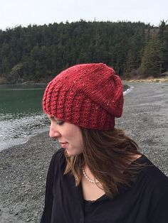 "Twist and Slouch is a simple hat pattern with a stretchy brim designed to ""hug"" the wearers head and keep out the chilly Pacific Northwest winds of Winter… or spring…or summer… or fall (the weather can be unpredictable around here, and if you are on a boat in the Puget sound- it's bound to be windy)."