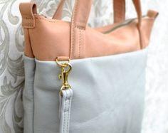 Mini Tote - Leather Two Tone - Etsy #leather #leathertote #totebags