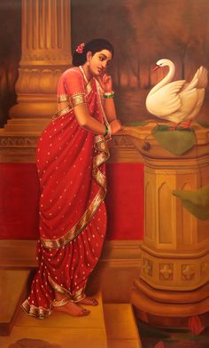 The Most Important Moment in a Woman's Life (Hamsa Damayanti, Oils Oil Painting on CanvasArtist: Anup Gomay Ravivarma Paintings, Indian Art Paintings, Classic Paintings, Saraswati Devi, Indian Art Gallery, India Art, Art Corner, Mural Art, Women Life