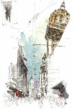 Calle Florida | Norberto Dorantes | Urban Sketchers