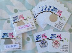 Owl Couple Gender Reveal. Scratch to reveal the sex of the baby by the color of the baby owlet hidden in the nest. TOO CUTE!!!  #nest #Gender #baby #shower #game #favor #Boy #Girl #myscratchofflabels #Etsy $3.99
