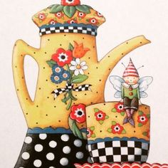 illustration - by Mary Engelbreit.I'm ready for a few sips of tea~ Mary Engelbreit, Illustrations, Illustration Art, Creation Photo, Tea Art, Whimsical Art, Mellow Yellow, Tea Time, Coffee Time