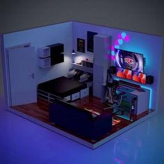 Bedroom Gaming Setup, Gamer Bedroom, Computer Gaming Room, Room Design Bedroom, Room Ideas Bedroom, Gaming Rooms, Bedroom Designs, Gaming Chair, Small Game Rooms