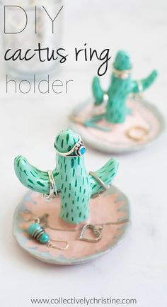 DIY cactus ring holder. Super cute and easy to make. Full tutorial at collectivelychristine.com