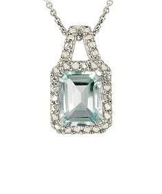 Loving this Silver Blue Topaz Diamond Pendant Necklace on #zulily! #zulilyfinds