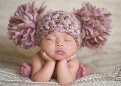 Chunky Pink Cream Ivory Off White Beige Brown Crochet Knit Newborn Infant Baby Girl Double Pom Pom Beanie Hat