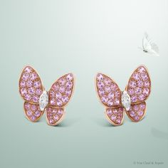 Van Cleef & Arpels Two Butterfly earclips set in pink gold and pink sapphires #VCAspring