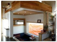 Compact interior - bedloft over living/lounge space, kitchen to the right...sweet.
